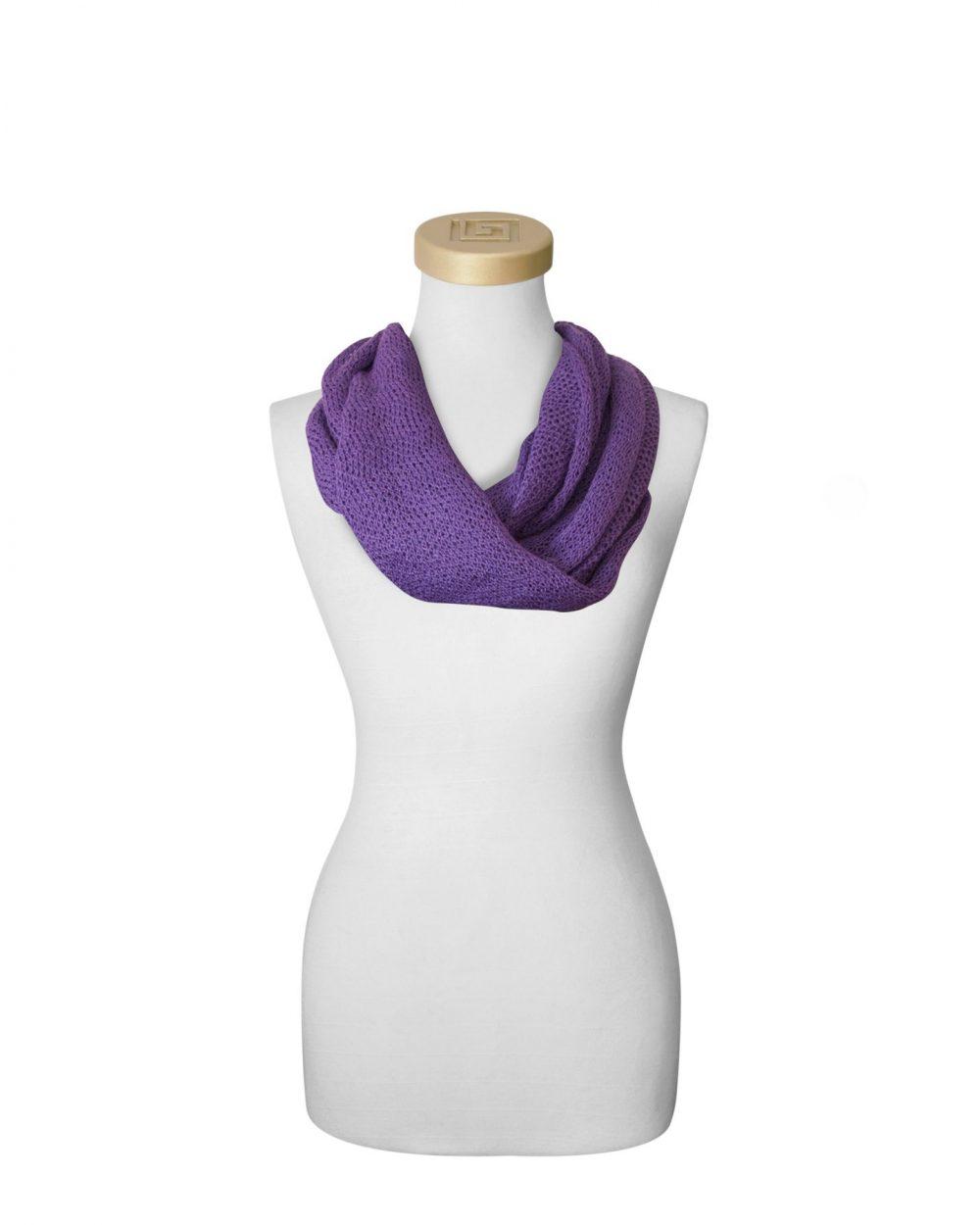 Echarpe collier mauve en bébé alpaga et soie Fine Alpaca fine laine et coton du Pérou