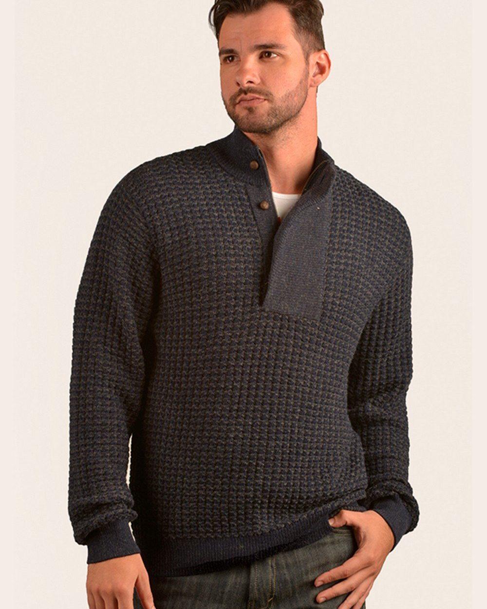 Pull à col montant tricot gaufré en baby alpaga